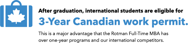 After graduation, international students are eligilble for a 3-year Canadian work permit. This is a major advantage that Rotman Full-Time MBA has over one-year programs and out international competitors.