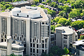 Aerial photo of the iconic Robarts Library at the University of Toronto.