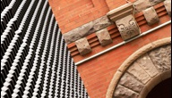 new building juxtaposition of new and old