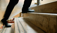 walking up stairs