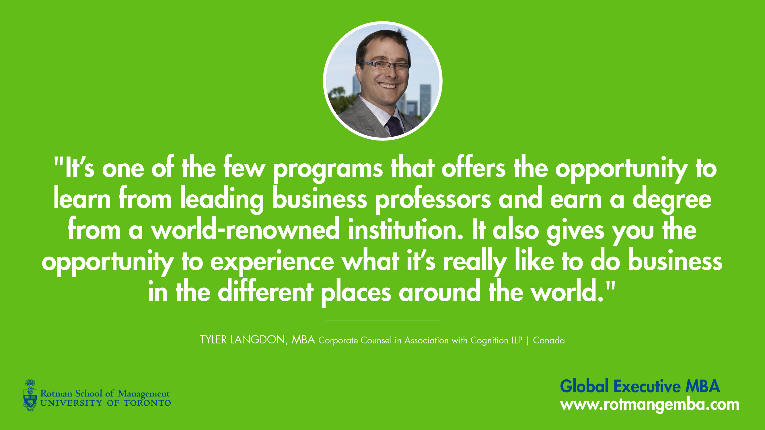 global executive mba emba rotman school of management tyler langdon