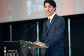 Photo of Justin Trudeau speaking at the Rotman School