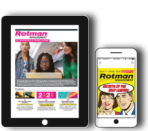 Graphic of Rotman Management Magazine on a phone and tablet
